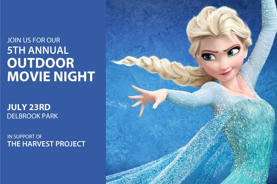 Our Outdoor Movie Night is 1 month away: July 23rd